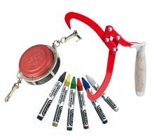 Lesnické nástroje kleště, háčky, křídy, pásma